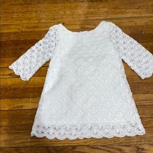 Genuine Kids OSHKOSH white lace 2 layer dress!
